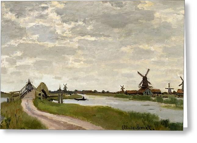 Windmills Near Zaandam Greeting Card by Claude Monet