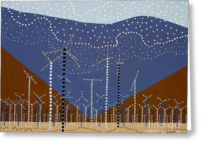 Windmills Of The Coachella Valley Greeting Card by Linda Wolf