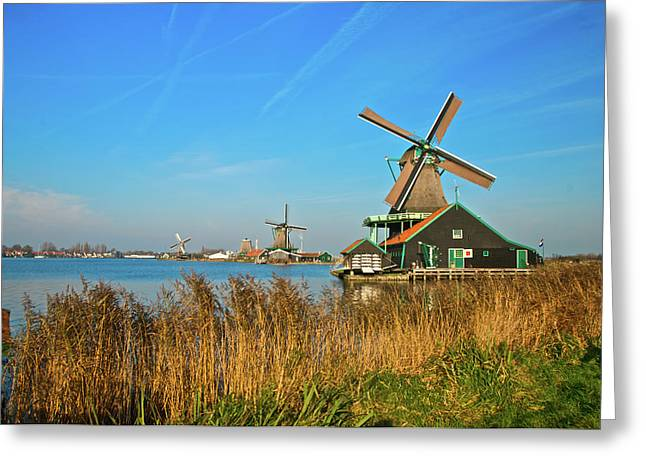 Greeting Card featuring the photograph Windmills On De Zaan by Jonah  Anderson