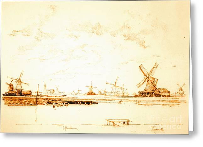 Windmills Zaandam Holland 1897 Greeting Card by Padre Art