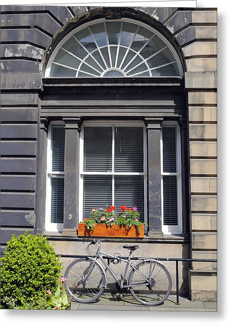 Window And Bicycle In Edinburgh Greeting Card by Norman Pogson