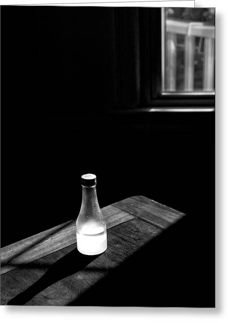 Window And Bottle Greeting Card by Guillermo Hakim