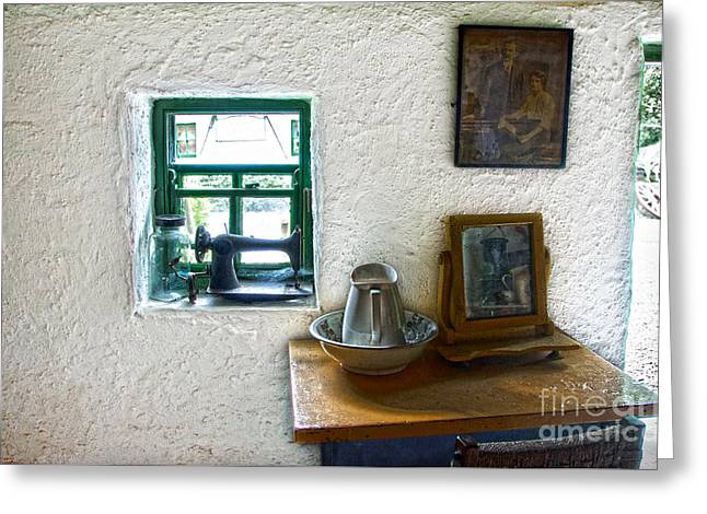 Window And Little Dressing Table In An Old Thatched Cottage Greeting Card by RicardMN Photography