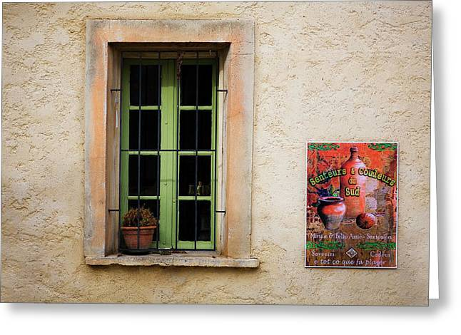 Window And Poster In Minerve Greeting Card by Panoramic Images