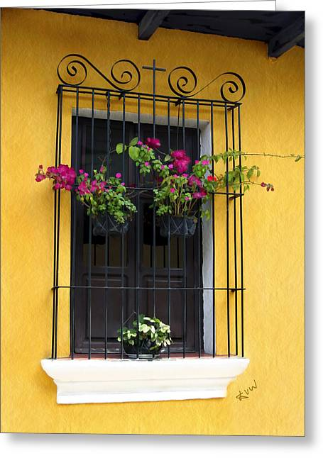Window At Old Antigua Greeting Card by Kurt Van Wagner
