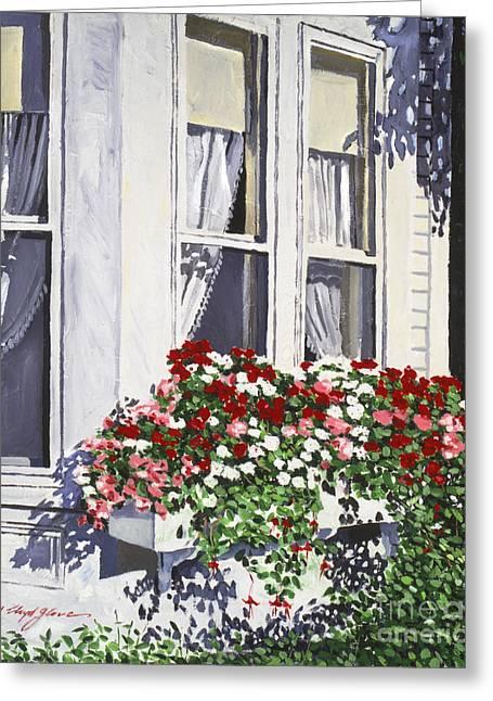 Window Box Colors Greeting Card by David Lloyd Glover