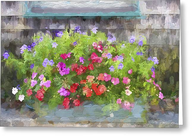 Window Box Painterly Effect Greeting Card by Carol Leigh