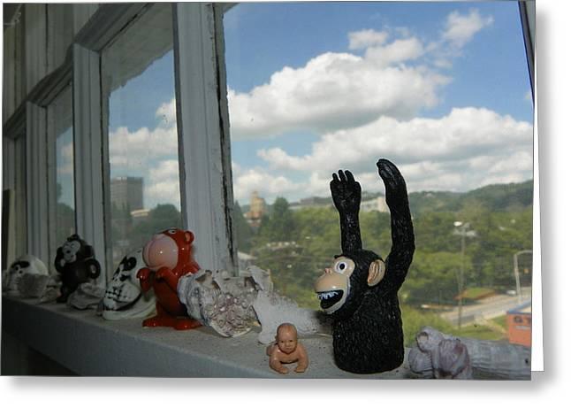 Window Buddies Greeting Card by Bernie Smolnik