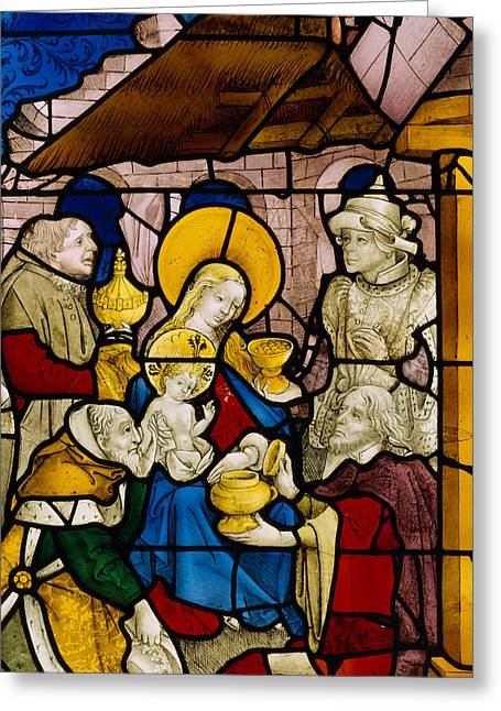 Window Depicting The Adoration Of The Kings Greeting Card by Flemish School