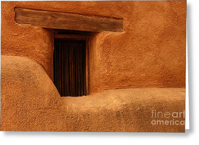 Window Detail Degrazia Mission In The Sun Greeting Card by Vivian Christopher