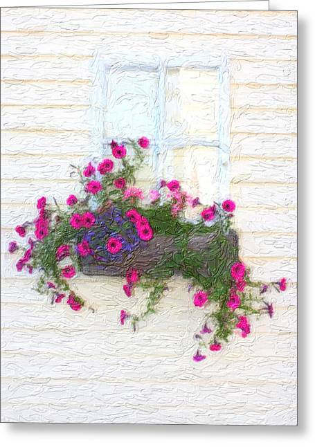 Window Flower Box Greeting Card by Gravityx9   Designs