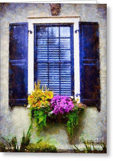 Window Flower Box View Greeting Card by Janine Riley