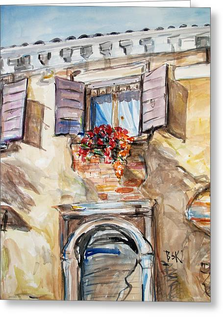 Greeting Card featuring the painting Window Flowers 1 by Becky Kim
