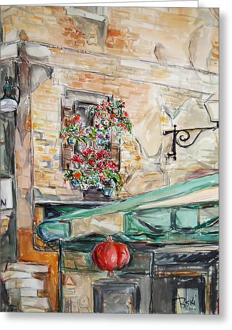 Greeting Card featuring the painting Window Flowers 2 by Becky Kim