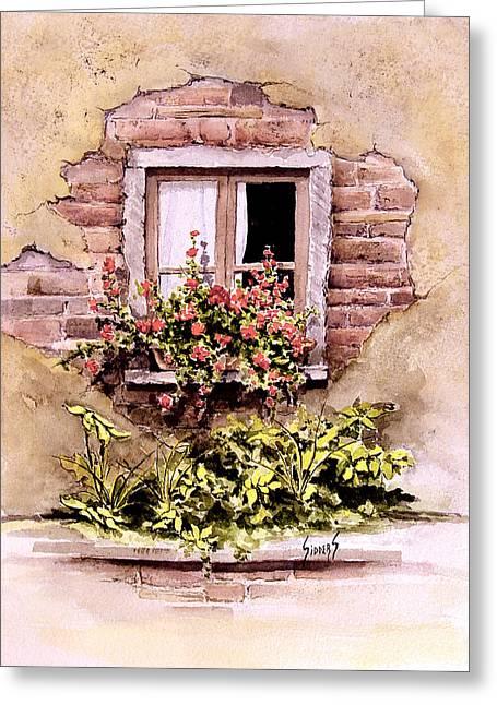 Window Flowers Greeting Card by Sam Sidders