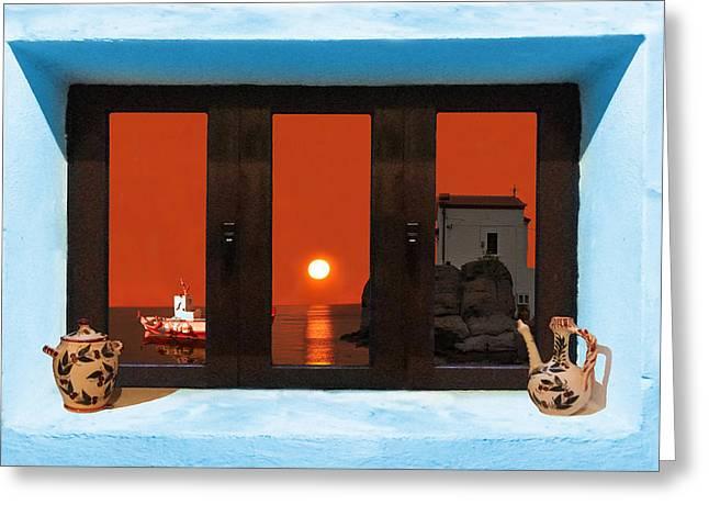 Window Into Greece 4 Greeting Card