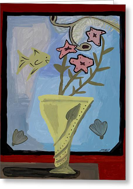Greeting Card featuring the painting Window Of Wonders by Artists With Autism Inc