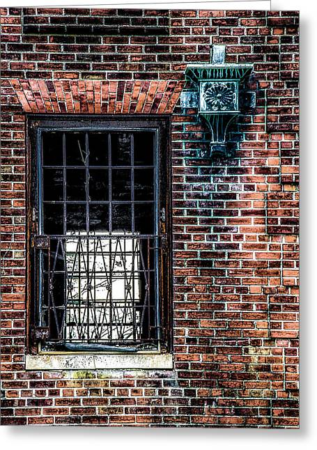 Window On A Red Brick Wall Greeting Card