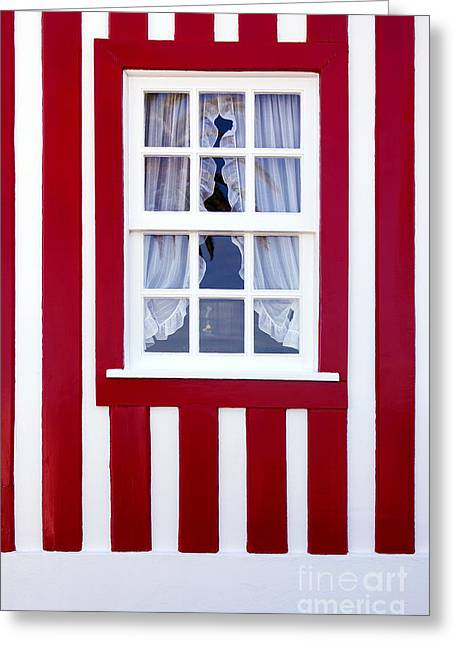 Window On Stripes Greeting Card