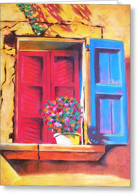 Window On The Rue In Roussillon France Greeting Card by Susi Franco