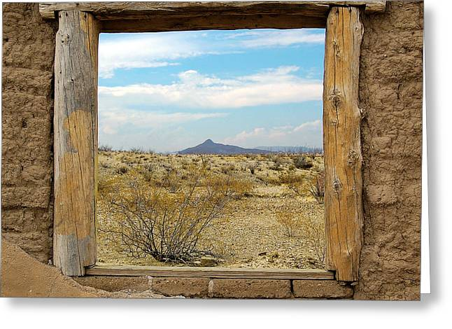 Window Onto Big Bend Desert Southwest Square Format Greeting Card