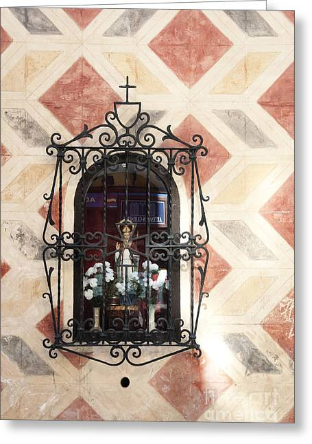 Window Saint Greeting Card by Agnieszka Kubica