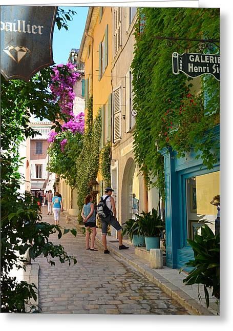 Window Shopping In St Tropez Greeting Card by Corinne Rhode