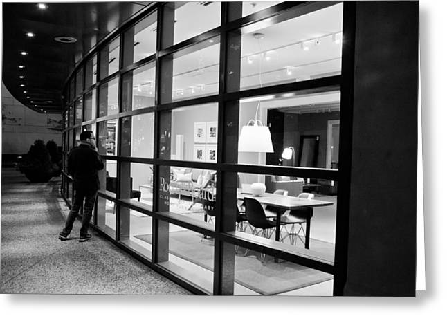 Window Shopping In The Dark Greeting Card by Melinda Ledsome