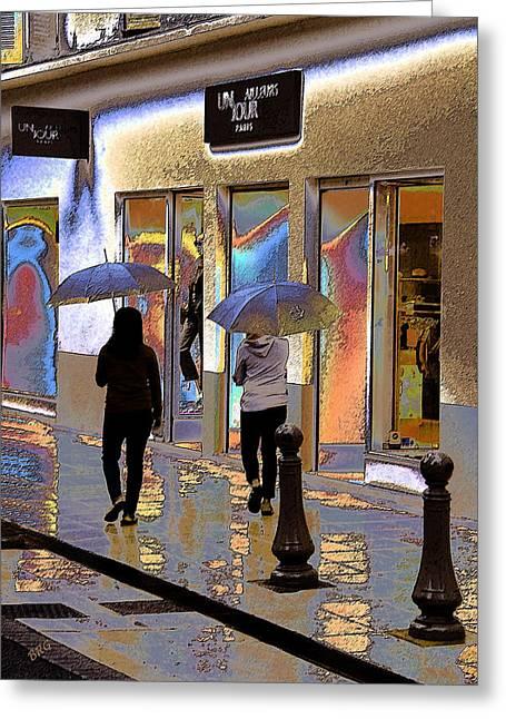 Window Shopping In The Rain Greeting Card by Ben and Raisa Gertsberg