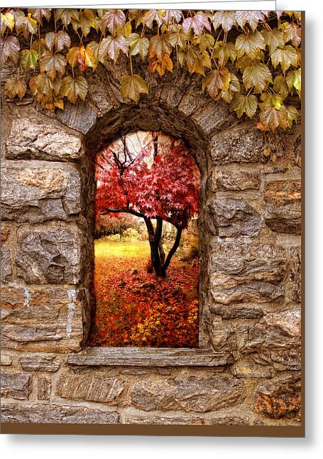 Window To Autumn Greeting Card by Jessica Jenney