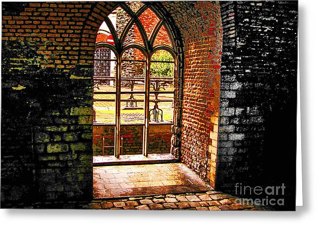 Window To Courtyard Greeting Card by Rick Bragan
