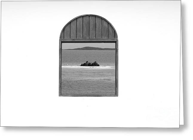 Window View Of Desert Island Puerto Rico Prints Black And White Greeting Card by Shawn O'Brien