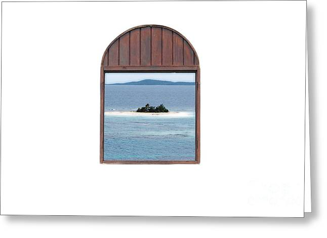 Window View Of Desert Island Puerto Rico Prints Diffuse Glow Greeting Card by Shawn O'Brien