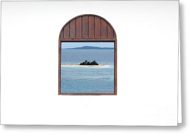 Window View Of Desert Island Puerto Rico Prints Greeting Card by Shawn O'Brien