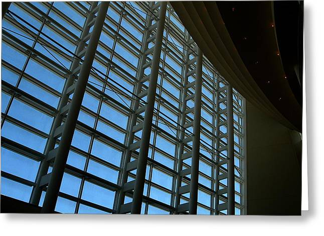Greeting Card featuring the photograph Window Wall At The Adrienne Arsht Center by Greg Allore