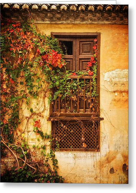 Window With Fall Flowers At Generalife Greeting Card
