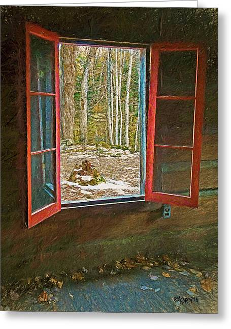 Window With View Abandoned Elkmont Log Cabin Autumn Greeting Card by Rebecca Korpita