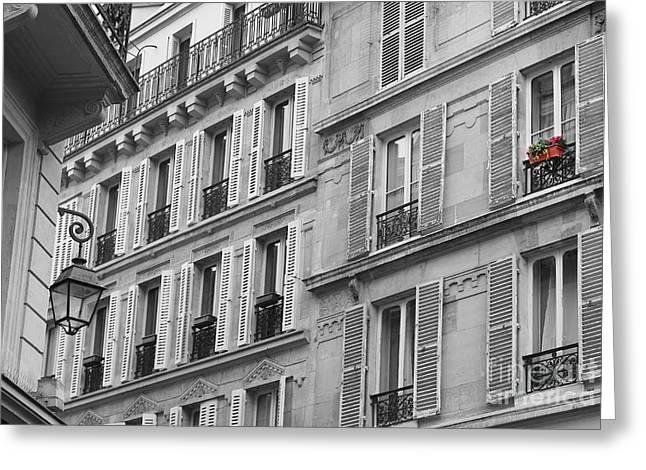 Windowbox In Paris Greeting Card by Heidi Hermes