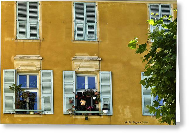 Windowboxes In Nice France Greeting Card by Allen Sheffield