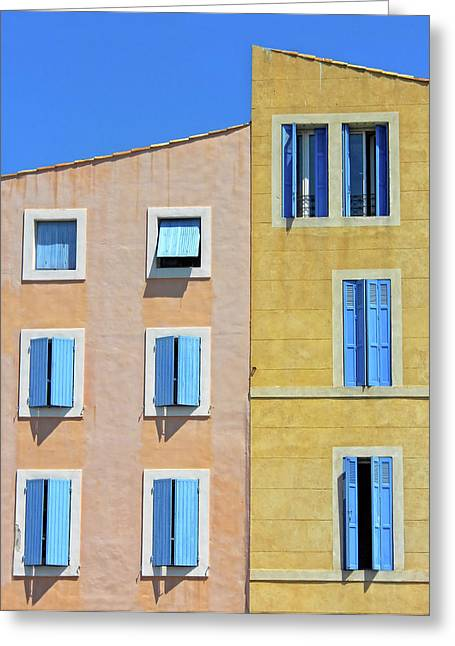 Greeting Card featuring the photograph Windows Martigues Provence France by Dave Mills