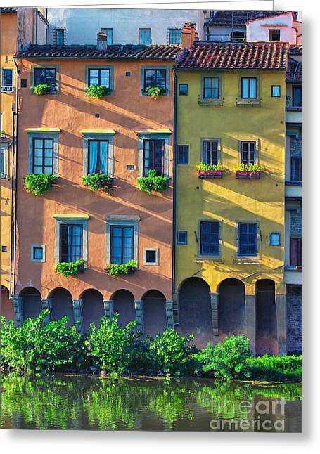 Windows On The River Arno Greeting Card