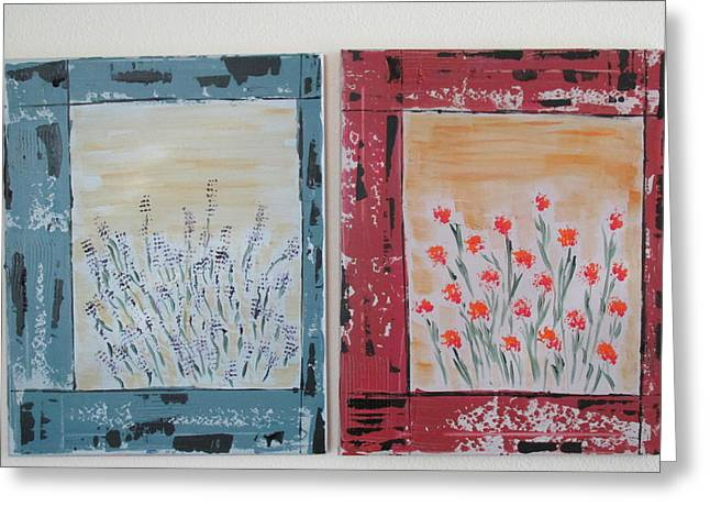 Greeting Card featuring the painting Windows To The Basques by Sharyn Winters
