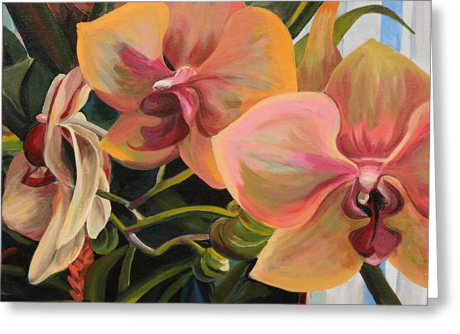 Windowsill Orchids Greeting Card by Trina Teele