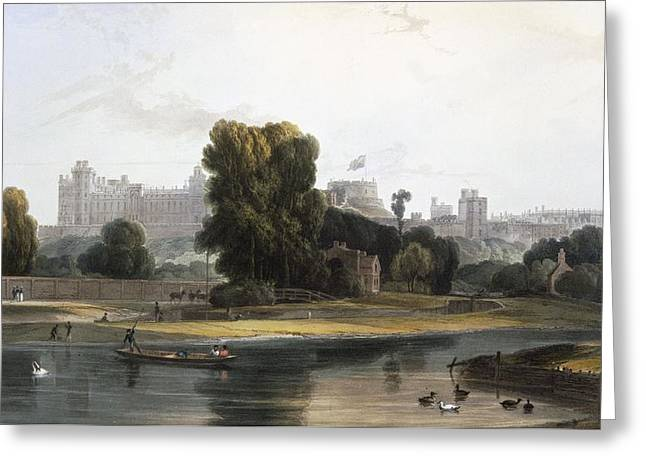 Windsor Castle From The River Thames Greeting Card by William Daniell