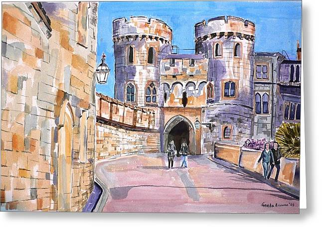 Greeting Card featuring the painting Windsor Castle by Geeta Biswas