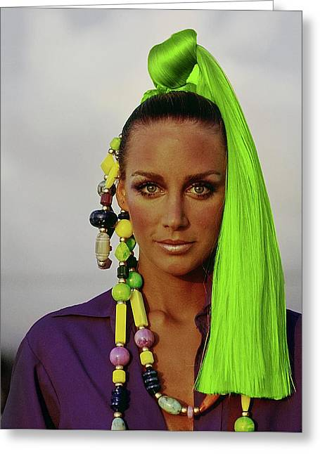 Windsor Elliott Wearing A Green Hairpiece Greeting Card
