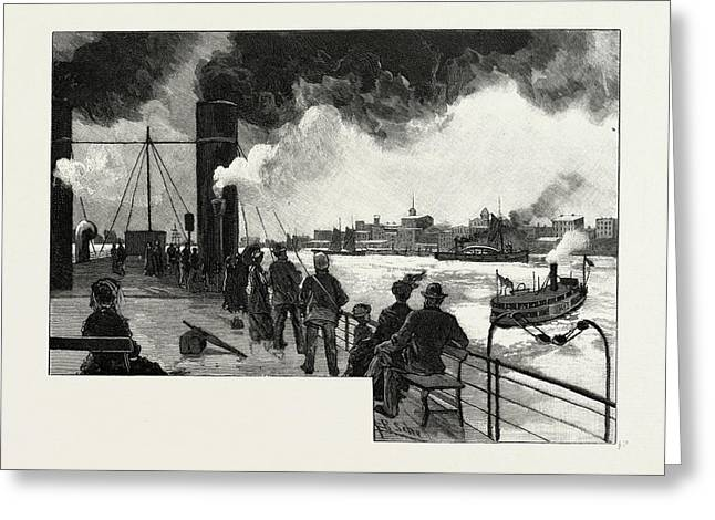 Windsor, From Deck Of Transfer Steamer, Canada Greeting Card by Canadian School