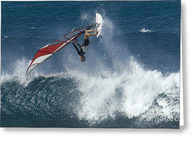 Windsurfer Hanging In Greeting Card