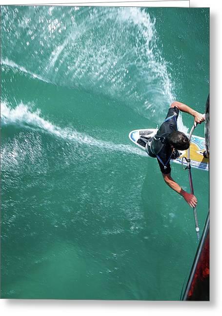Windsurfing Greeting Card by Chris Knapton