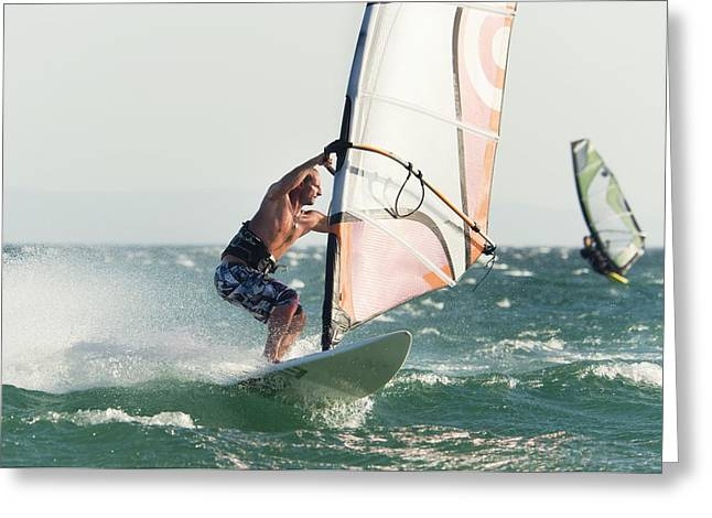 Windsurfing Tarifa, Cadiz, Andalusia Greeting Card by Ben Welsh